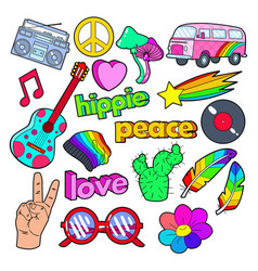 Hippie lifestyle doodle with pink van peace vector