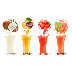 Set of fruit juice splash in a glass coconut vector