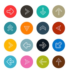 Colorful hatched arrows set in circles vector