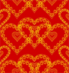 Valentines day seamless texture of gold hearts vector