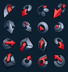 3d gray and red abstract shapes different vector