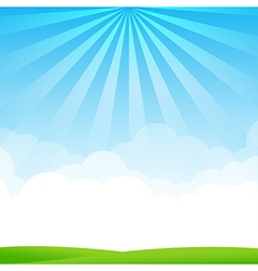 Nature blue sky sunburst copy space and greenfiel vector