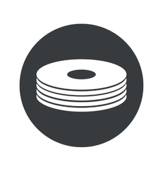 Monochrome round disc pile icon vector