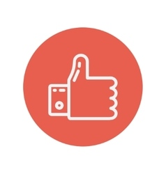 Thumbs up thin line icon vector