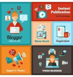 Blogger Poster Set vector image