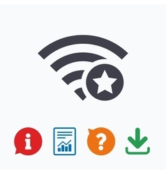 Wifi star sign favorite wi-fi symbol wireless vector