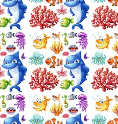 Seamless sea creatures and coral reef vector