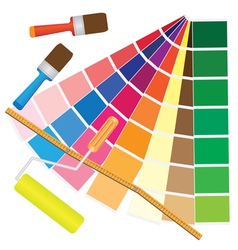 Brushes and papers with coloured samples vector