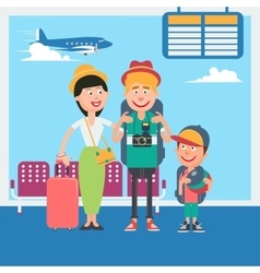 Young family waiting to departure in airport vector
