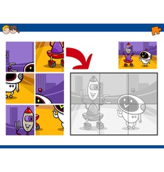 Jigsaw puzzle activity with robots vector