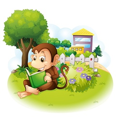 A monkey reading a book near the plants with vector