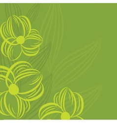 Abstract background with green flowers vector image