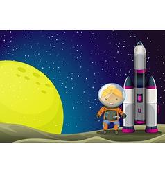 An astronaut standing beside the rocket near the vector image