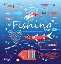Bright set of elements for fishing vector
