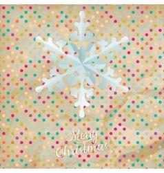 Christmas polka dot card with snowflake EPS 10 vector image vector image