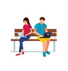 couple of young people sitting on the bench vector image vector image