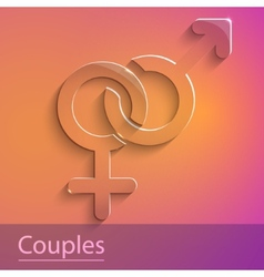 Couples female male sign glass icon vector image
