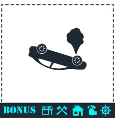 Crash car icon flat vector
