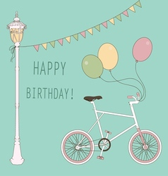 Cute card with balloons and bicycle vector