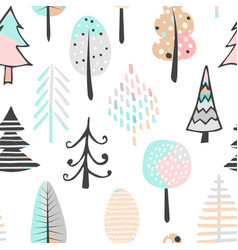 cute seamless pattern with tree hand drawn vector image vector image