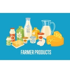 Farmer products banner with dairy composition vector
