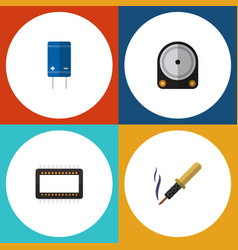Flat icon electronics set of hdd mainframe vector