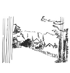 image landscape with a house among the vector image