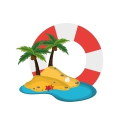 Life preserver and tropical island icon vector