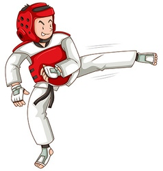 Man in taekwondo outfit kicking vector