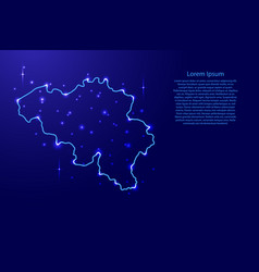 map belgium from the contours network blue vector image