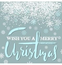 Merry Christmas grunge lettering design on blue vector image