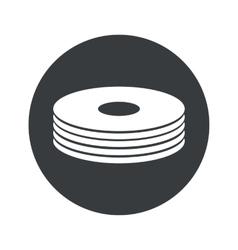 Monochrome round disc pile icon vector image vector image