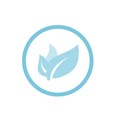 organic leaves blue round icon vector image vector image