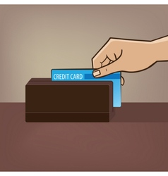 Outstretched hand with credit card and card reader vector