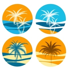 Palm paradise logo set vector image