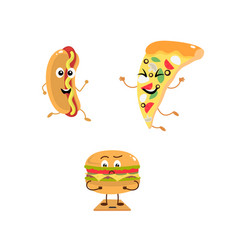 Set of funny characters from fast food vector