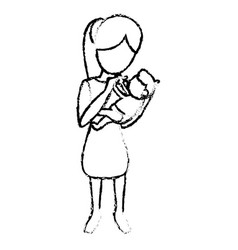 sketch mother and holding son vector image