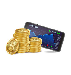 smartphone with bitcoin trading chart vector image vector image