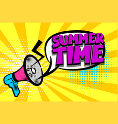 summer time comic text pop art colored bubble vector image vector image