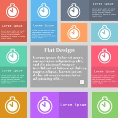 The stopwatch icon sign Set of multicolored vector image