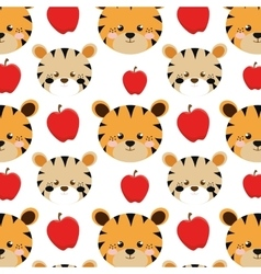 Tigers and apples background vector