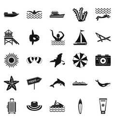 Tropical vacation icons set simple style vector