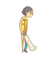 unhappy young man with dark hair on crutches with vector image vector image