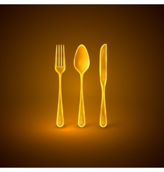with golden plate knife and fork vector image vector image