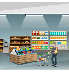 Young man pushing an empty supermarket cart vector