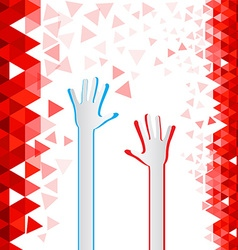 Red triangles background with paper cut hands vector