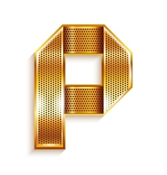 Letter metal gold ribbon - P vector image