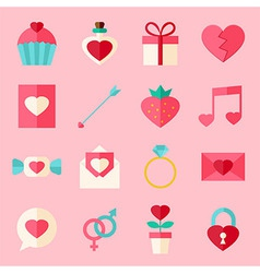 Valentine day flat icon set over light pink vector