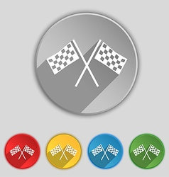 Race flag finish icon sign symbol on five flat vector
