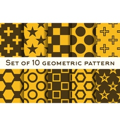 Set of 10 geometric patterns vector